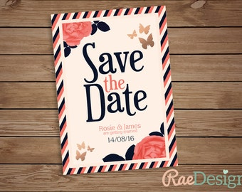 Printable Navy and Coral Save the Date