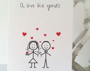 Wedding Card, Bride and Groom, Mr & Mrs, Card, Cute, Romantic, Wedding, Birthday, New Baby, Love, Father's Day, Stickmen, Handmade Active