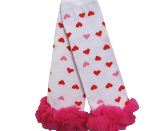 Pink and Red Heart Baby Legwarmers