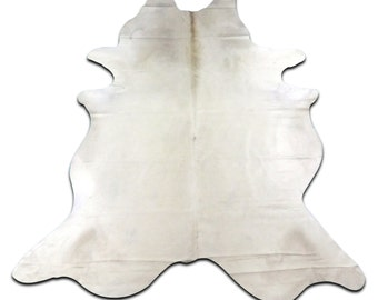 Off White Cowhide Rug Size: 8.25' X 6.75 off white cow hide rug # E-400