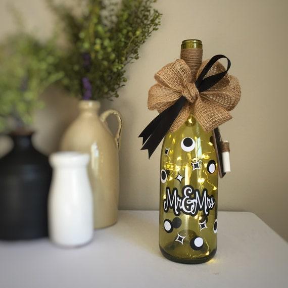 Mr&Mrs/Black and White/Wine Bottle Light/Battery Operated/Recycled Glass Bottle/Wine Tasting Shower Gift/Couples Gift/Wine Lovers Gift