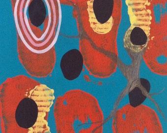 Original contemporary fine art, abstract botanical art.