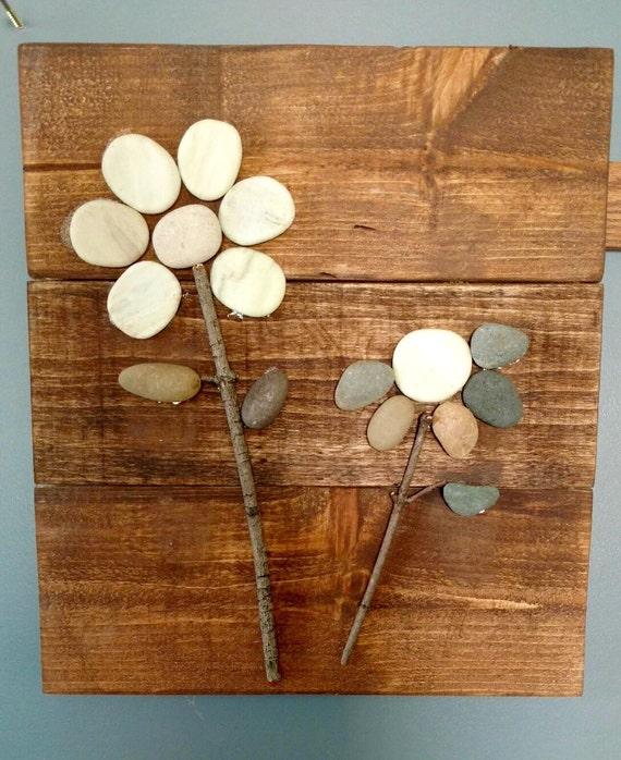 Pebble Art Rock Art Flowers Reclaimed Wood