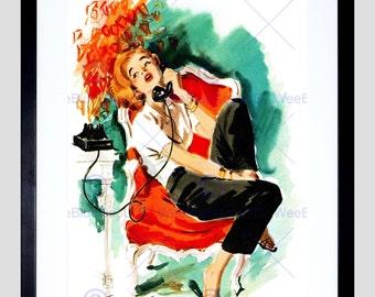 Painting Portrait Pin Up Girl Telephone Van Saun Usa Art Print Poster FEBB8681