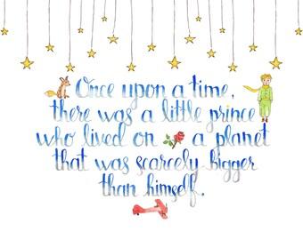 The Little Prince Quote | Watercolor 8x10 Quote | Children Wall Decor