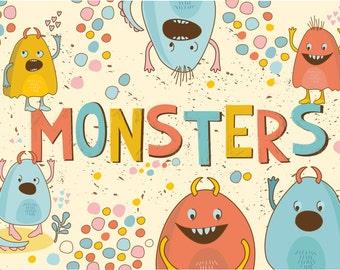 Cute Little Monsters(vector,jpg,png)