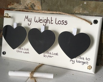 Weight loss motivation door sign plaque with 3 chalk hearts, slimming, diet, watchers, chalk included, sign can be personalised shabby chic