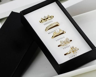 Fashion Rings Set Include 5 Pieces Rings For Women Packed With Original Boxes