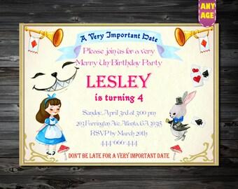 Alice In Wonderland Invitation, Alice invitations,Alice in wonderland birthday invitations,1st 2nd 3rd 4th 5th 6th 7th Birthday invitation