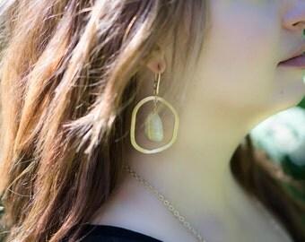 Rutilated Quartz Hammered Brass Circle Earring