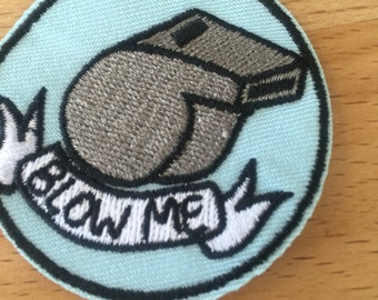 """2"""" Blow Me Patch. Whistle, blue, kitschy."""