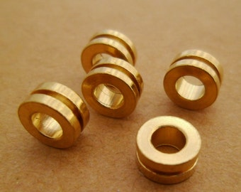Classic Style* 40pcs Geometry Minimalist Chic Modern Eco-friendly Raw Brass Rondelle Wheel Spacers Beads 0101-0616