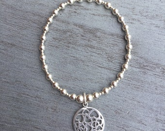 Simmi Sterling Silver Circle Heart Charm Bracelet