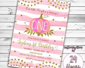 Little Pumpkin Invitation, First Birthday Invitation, Girl First Birthday Invitation, Pink Pumpkin Invitation, Gold and Pink Invitation