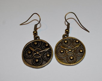 Steampunk clock earrings