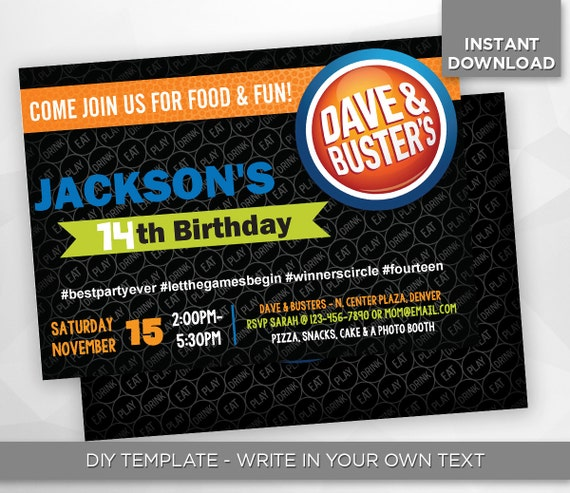 SALE 80% OFF Dave And Busters Invitation By HappiestPrints
