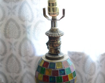 Glass Hollywood Regency Lamp Moroccan