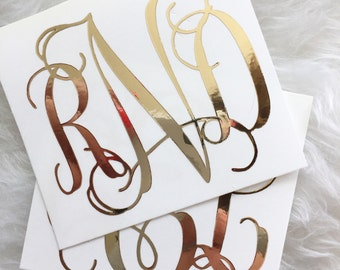 Gold Foil Monogram Decal, YETI Decal, Gold Chrome, Planner Sticker, Car Decal, Gold Foil, iPad Decal, Macbook Laptop Decal, Vinyl Decal