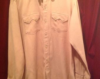 Gaberdine Shirt Pink 1950s  / Western Shirt Pink / Ranch Wear.