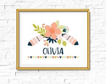 Custom Nursery Print | Woodland Print | Tribal Boho Personalized Name | Bohemian Nursery Decor | Wall Art Printable | Floral Feather| Bodhi