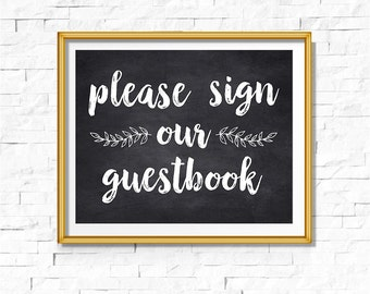 DIY PRINTABLE Rustic Chalkboard Sign Our Guestbook | Instant Download | Wedding Ceremony Reception | Rustic Sign | Party Print | WChalk01