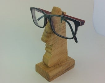 Oak / Wooden Nose-Shaped Spectacles / Glasses Holder / Stand