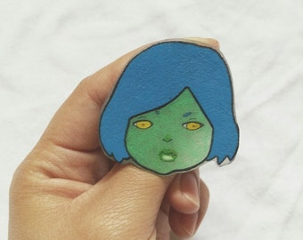 Alien Lapel Pin, Alien Girl, Lapel Pin, Shrinky Dink Pin