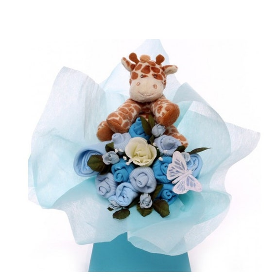 Baby Bouquet made with baby boy clothing with a soft giraffe toy.