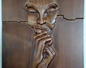 Wood carving portrait face
