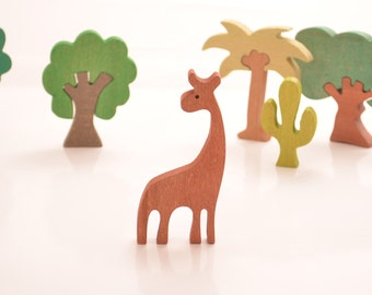 Giraffe Wooden Figures, Wooden Animals, Baby's Gift, Natural Wooden Toys, Educational,Waldorf toys, Montessori toys, Learning toys, Eco Gift