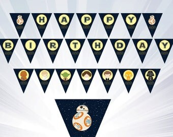 star wars banner - Instant Download - bb8 invitation - bb8 banner