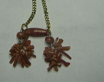 Red Coral with Wood Beads / includes Chain