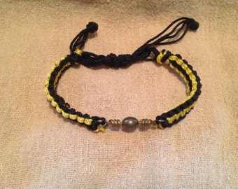 Black and Yellow Square Knot Macrame Bracelet With Fishing Tackle