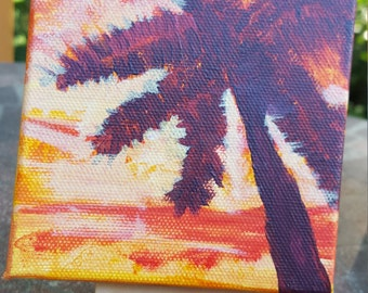 Items Similar To Perler Bead Sunset With Palm Trees Beach