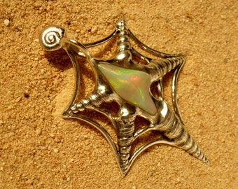 Pendant with Opal, 55 mm spider, unique