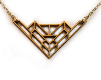 Gold Geometric Laser Cut Wooden Necklace : #1