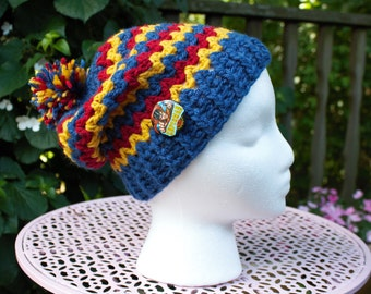 Red Blue and Yellow Beanie