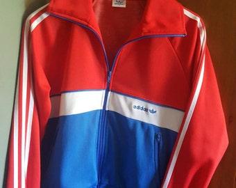 80's Adidas Track Jacket, red white and blue, size medium