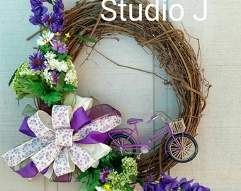 Purple Bicycle Grapevine Wreath