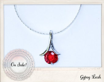 Red ruby crystal pendant necklace.
