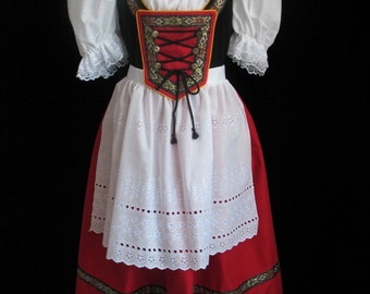 New Red Bavarian German Oktoberfest Dirndl Dress Gown Costume