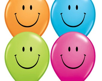 "6 x 11""  Smiley Face Latex Balloons in Pastel Colours by Qualatex Children's Birthday Party"