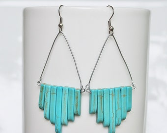 Large Turquoise Howlite Stone Matchstick Duster Drop Earrings