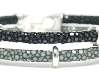 Double Bone Bracelet Double Sting Gray / Black Stingray / Silver Beads