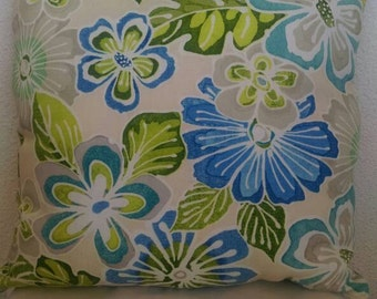 Floral Print Throw Pillow with Olive Green Back