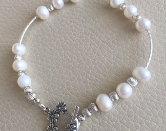 Sterling Silver Bridal Bracelet with Freshwater Pearls // gift for her