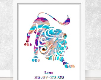Watercolor  Astrology Art, Leo Print, Leo Sign ,Leo Zodiac, Leo Wall Art, Leo Poster, Gifts for Leo  , Archival Art Print