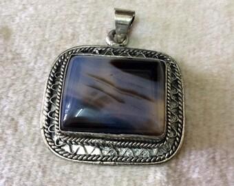 Black Agate Stone Pendant,Black Onyx Pendant,Black Agate Pendant with Frame,Silver,Vintage,Handmade,Islamic