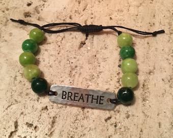 Green Quartzite Beads + Breathe Band Slip-Knot Bracelet