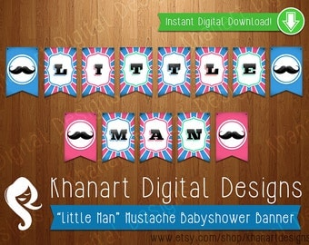 "Instant Download: ""Little Man"" Mustache Babyshower Banner (Pink / Light Blue)"